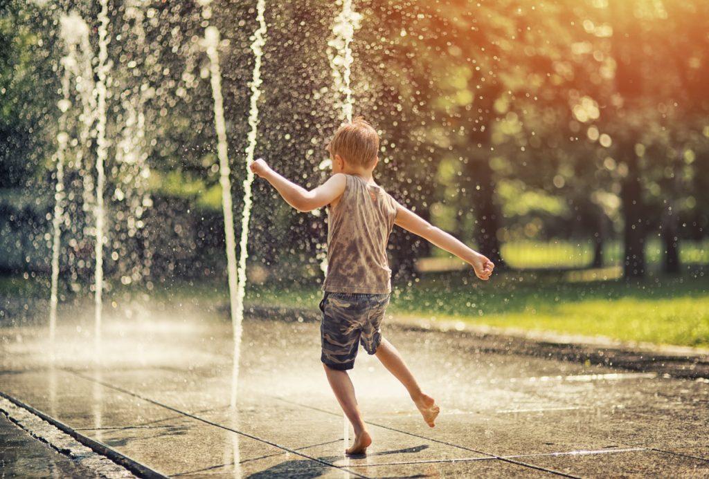 Playing in the Riverwalk fountain
