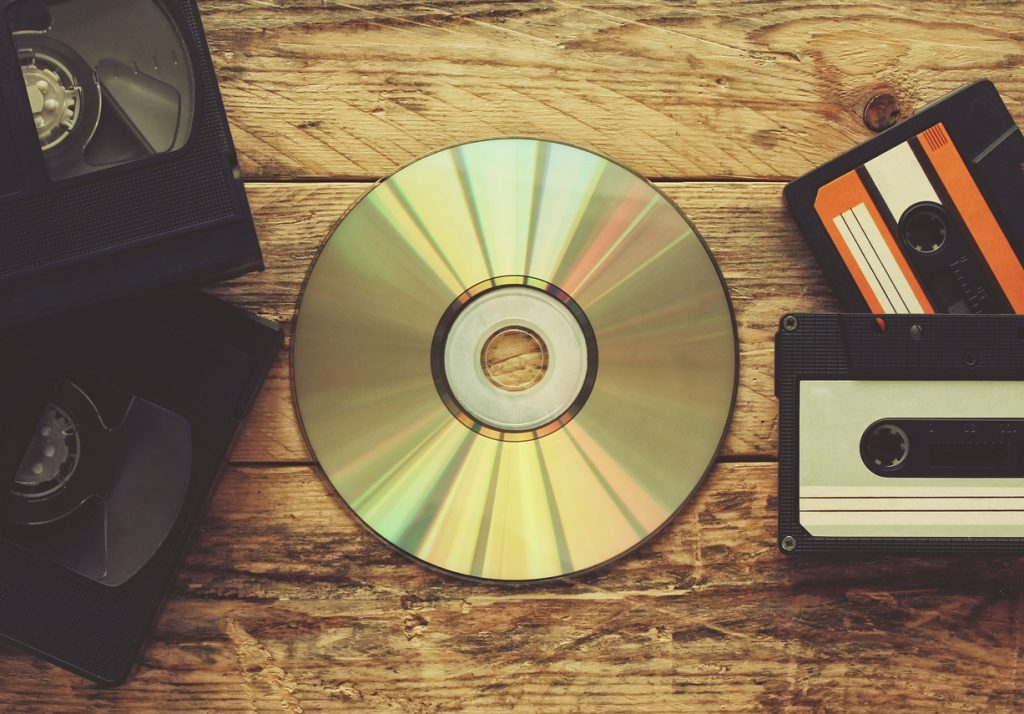 video tapes, audio tapes and compact disc for fall movies
