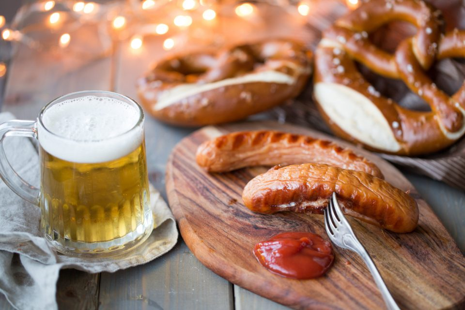 bavarian sausages, pretzels, and beer at Bradenton Bars for Saint Patrick's Day