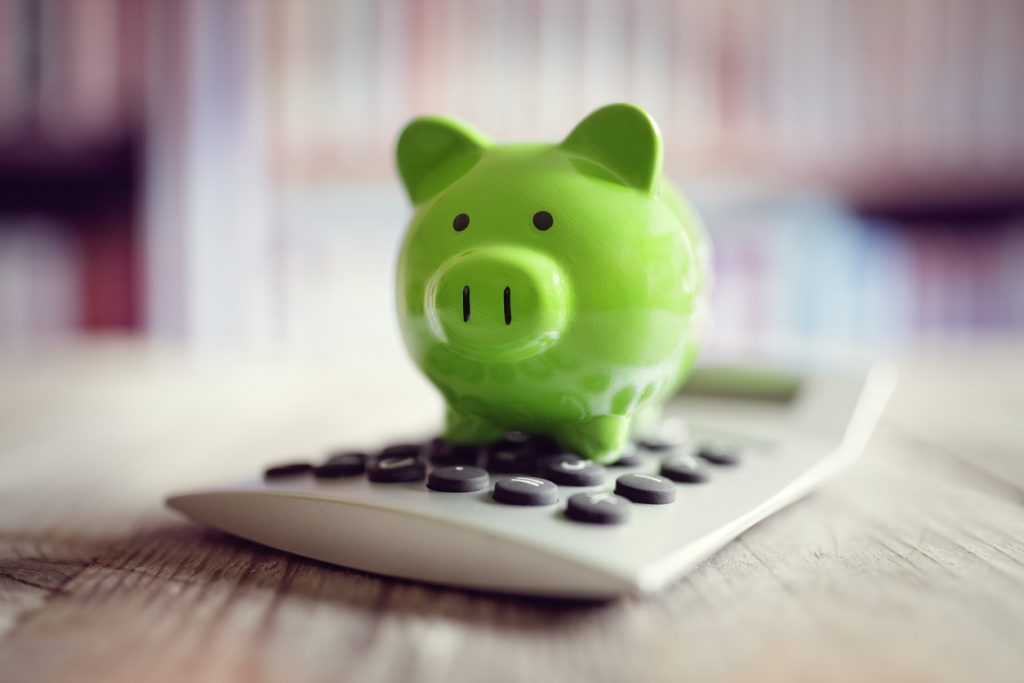 Piggy bank with calculator for free events