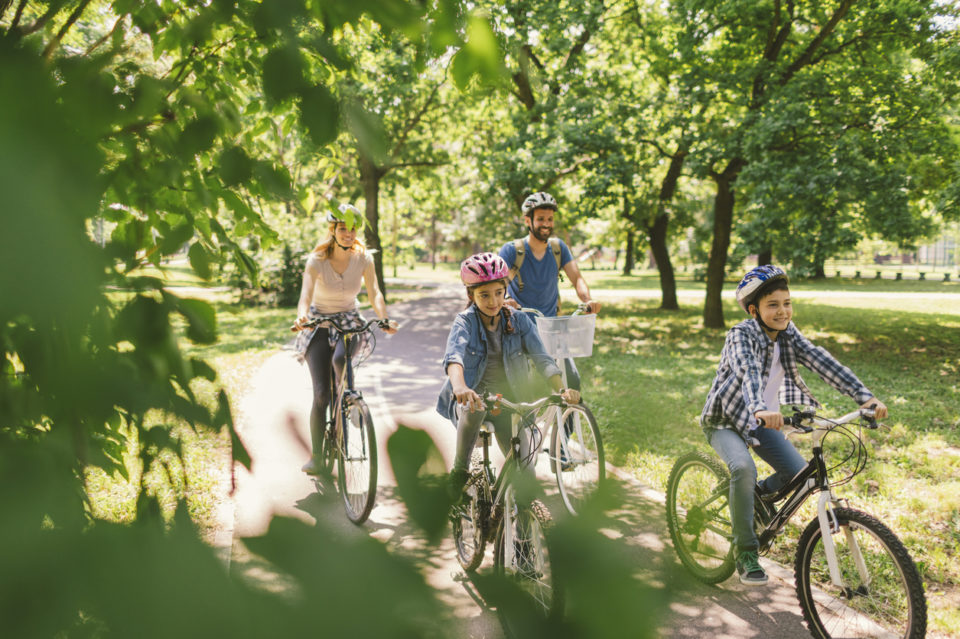Family riding bikes along a park path