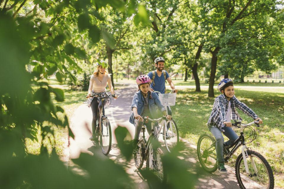 Family riding bikes along a park path